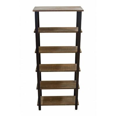 "70"" Pomona 5 Shelf Bookshelf Metal and Solid Wood Natural - Alaterre Furniture"