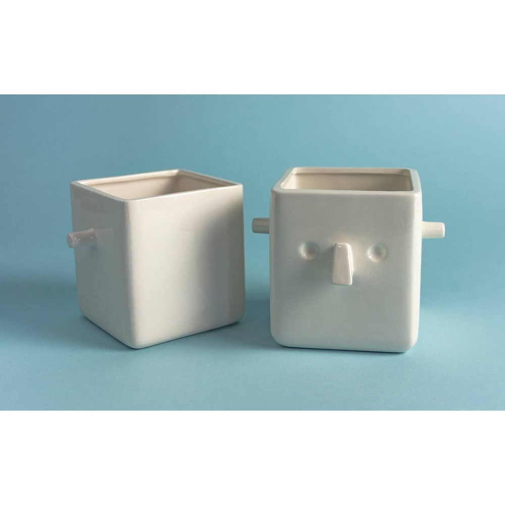 Image of Face Plant Holder White, decorative vases