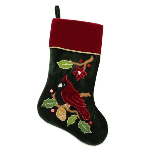 Embroidered Christmas Stockings.Northlight 20 Red And Green Velveteen Cardinal Embroidered Christmas Stocking