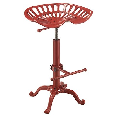 Adjustable Tractor Seat Counter Height Barstool Metal/Red - Hunter
