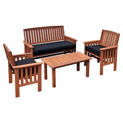 Miramar Hardwood Outdoor Chair and Coffee Table Set - Cinnamon Brown/ Black - CorLiving
