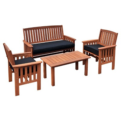Miramar Hardwood Outdoor Chair And Coffee Table Set Cinnamon Brown Black Corliving Target
