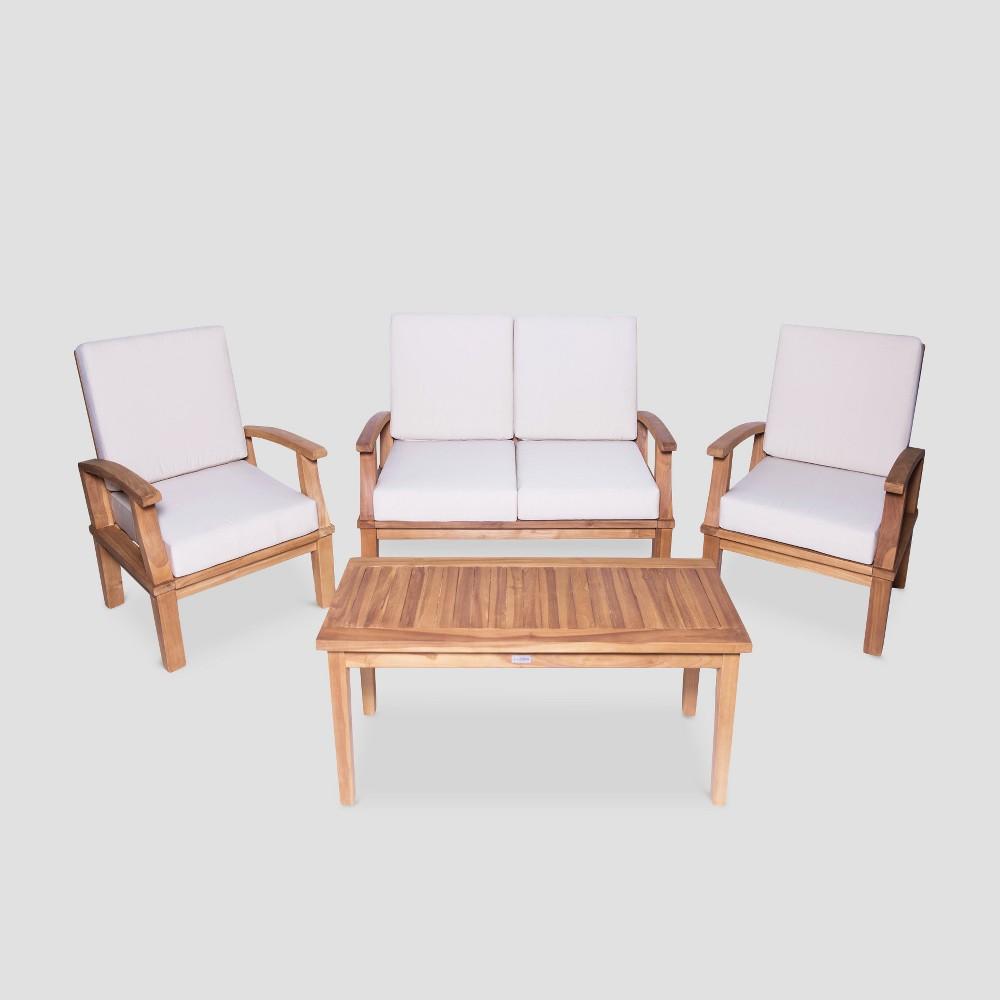 Image of Venice 4pc Deep Seating Teak Conversation Set - LuXeo