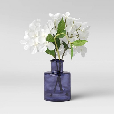 "11"" x 10"" Artificial Hydrangea Arrangement in Glass Vase White/Blue - Threshold™"