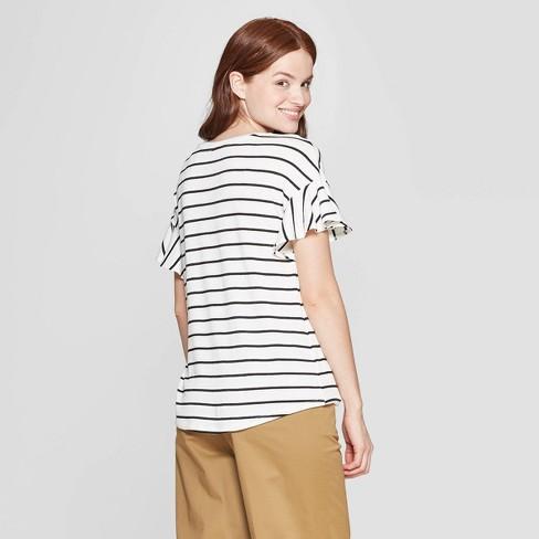 00d3fe2ddf5 Women s Striped Short Sleeve Ruffle T-Shirt - A New Day™   Target