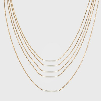 Delicate Multi Row with Thick Chain and Tubing Necklace - Universal Thread™ Gold