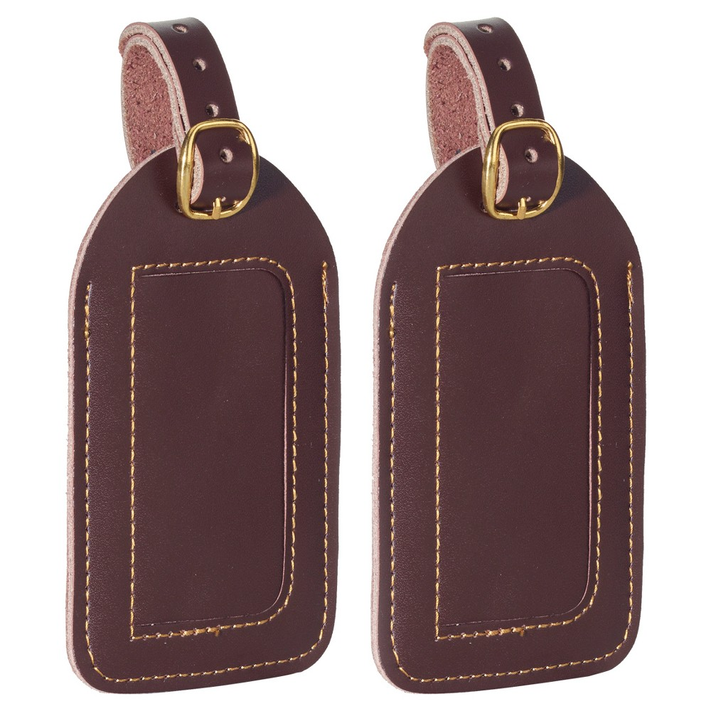 TravelSmart 2 Pack Leather Luggage Tags - Brown Leather Luggage Tags (2 Pack) Two large, elegant leather luggage tags 4.75 in x 2.625 in Identification card and see-through window with protective flap for privacy Perfect size to fit business card Color: Brown. Gender: Unisex. Age Group: Adult. Pattern: Solid.
