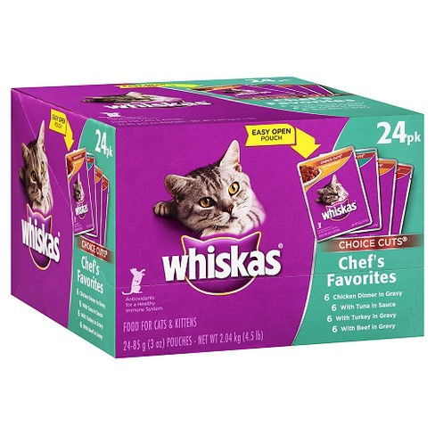 WHISKAS® CHOICE CUTS® Chef's Favorites Variety Pack 2 Wet Cat Food - 24pk - image 1 of 4