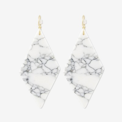 Sanctuary Project Semi Precious White Howlite Diamond Drop Statement Earrings Gold