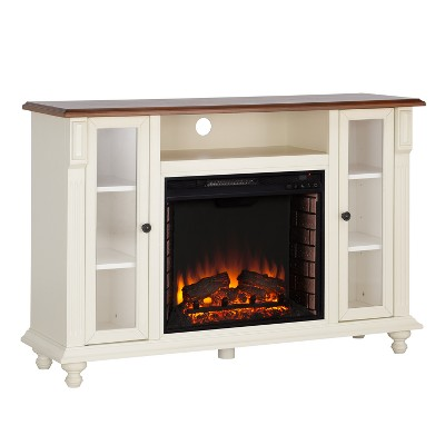 Captio Electric Fireplace TV Stand Antique White - Aiden Lane