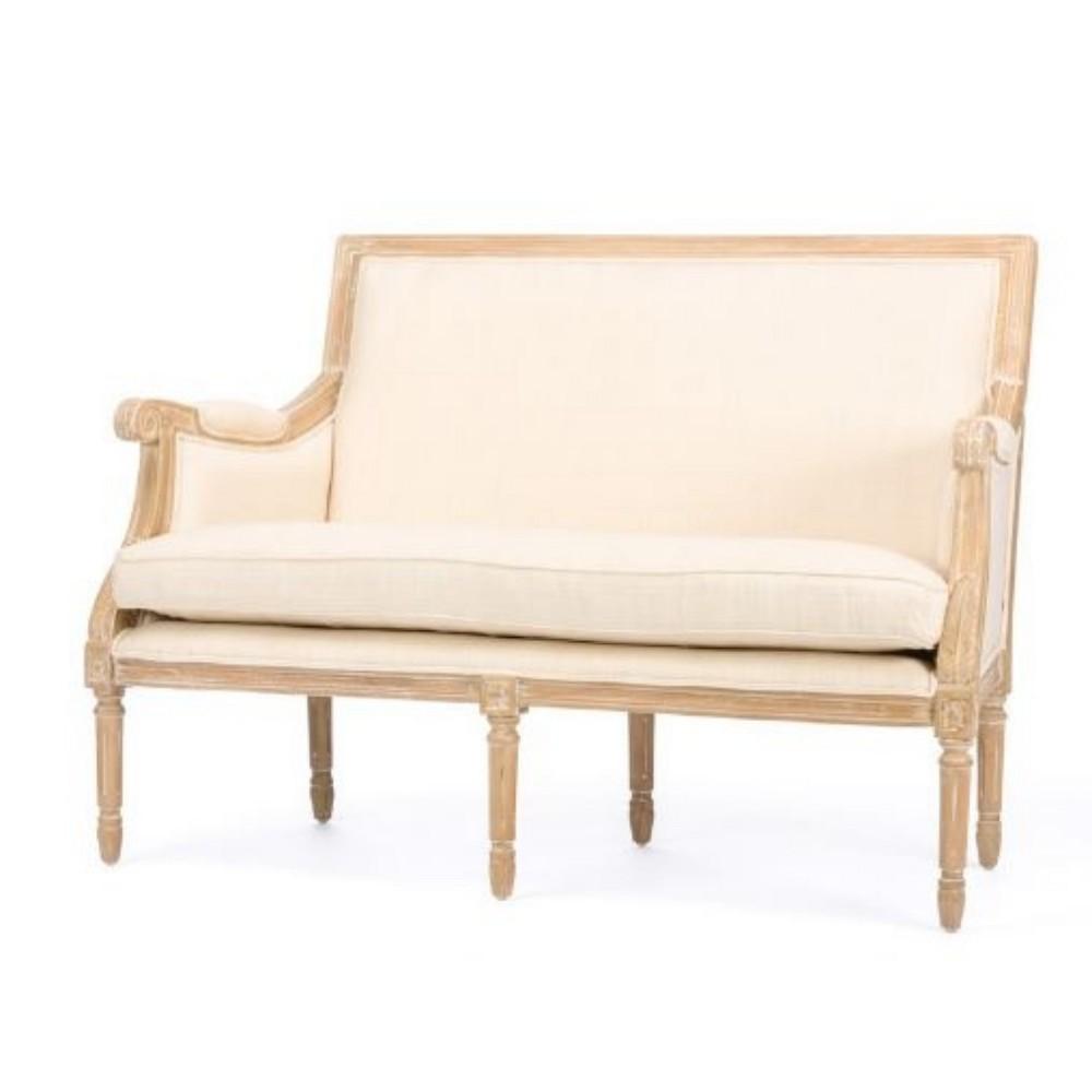 Chavanon Wood & Linen Traditional French Loveseat Beige - Baxton Studio
