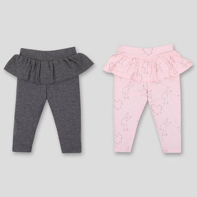 Lamaze Baby Girls' 2pk Ruffle Organic Cotton Leggings - Pink/Gray 3M