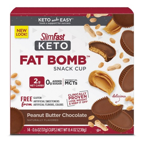 SlimFast Keto Fat Bomb Snack Cup - Peanut Butter Chocolate - 14ct - image 1 of 4