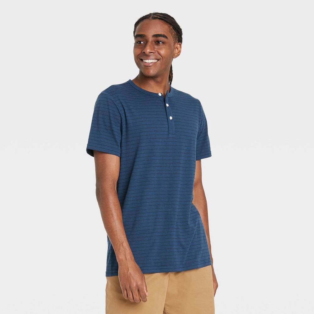 Men 39 S Short Sleeve Henley Shirt Goodfellow 38 Co 8482 Cornelian Blue Xl