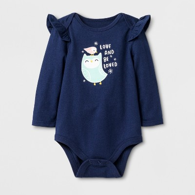 Baby Girls' Long Sleeve  Love And Be Loved  Bodysuit - Cat & Jack™ Blue Newborn