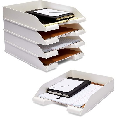 Stockroom Plus 4-Pack White Stackable Documents Paper Trays, Office Desk Organizers (10 x 13.5 x 2.5 in)