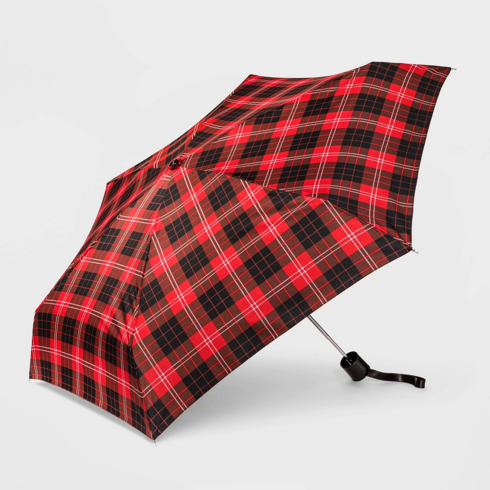 Image of Cirra by ShedRain Women's Plaid Mini Manual Compact Umbrella - Red/Black, Adult Unisex, Size: Small, Red Black