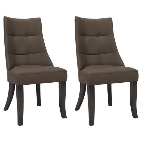 Tufted Dining Accent Chair - Brown/Gray (Set of 2) - CorLiving - image 1 of 5