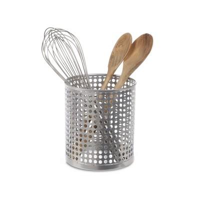 "Design Ideas Edison Utensil Cup- Kitchen Utensil Holder – Silver, 5.5"" x 5.5"" x 6.4"""
