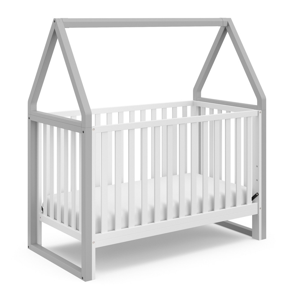 Storkcraft Standard Full-sized Crib White Light Pebble, White/Pebble Gray