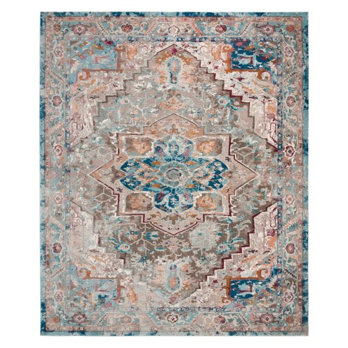10 X14 Medallion Loomed Area Rug Beige Blue Safavieh