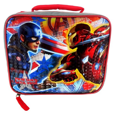"""Captain America 9"""" Rectangular Lunch Bag - Gray/Red - image 1 of 3"""