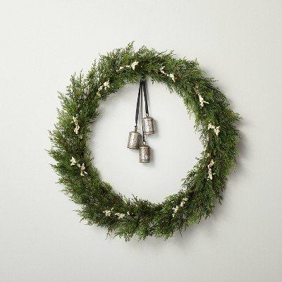 """32"""" Faux Cedar Plant Wreath with White Berries and Bells - Hearth & Hand™ with Magnolia"""