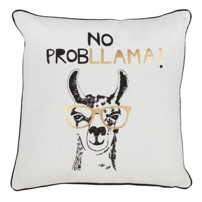 No Probllama Square Throw Pillow White - Saro Lifestyle