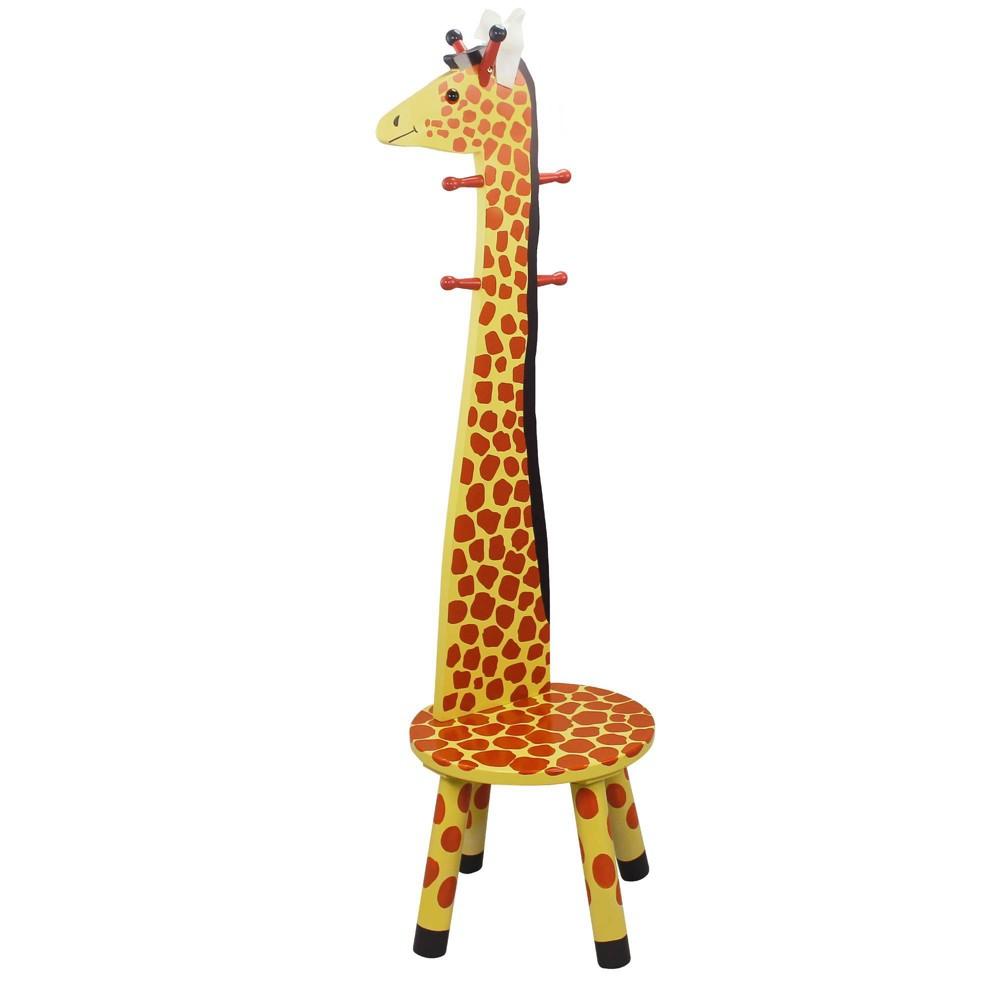 Image of Giraffe Zoo Kingdom Stool with Coat Rack - Teamson Kids
