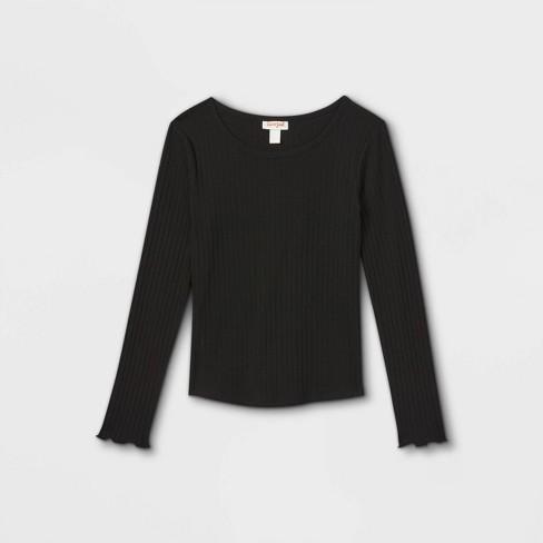 Girls' Rib-Knit Printed Long Sleeve Top - Cat & Jack™ - image 1 of 2