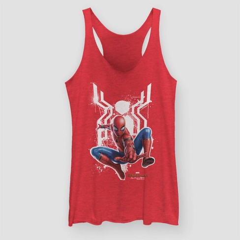 Women's Spider-Man: Far From Home Tank Top (Juniors') - Red Heather  - image 1 of 2