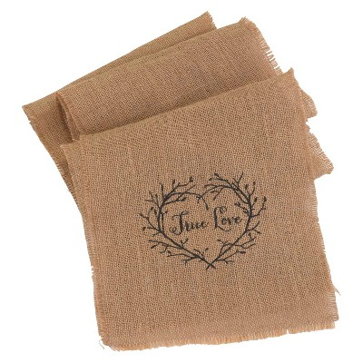 Burlap  True Love  Table Runner
