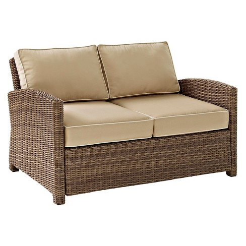 Crosley Bradenton Outdoor Wicker Loveseat with Sand Cushions - image 1 of 8