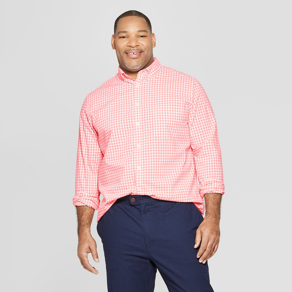 Men's Tall Plaid Standard Fit Long Sleeve Northrop Poplin Button-Down Shirt - Goodfellow & Co Sunbeam Pink LT