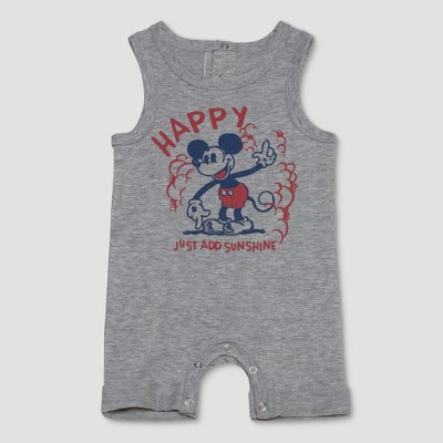 Junk Food Baby Boys' Disney Mickey Mouse Sleeveless Bodysuit - Gray 6-9M