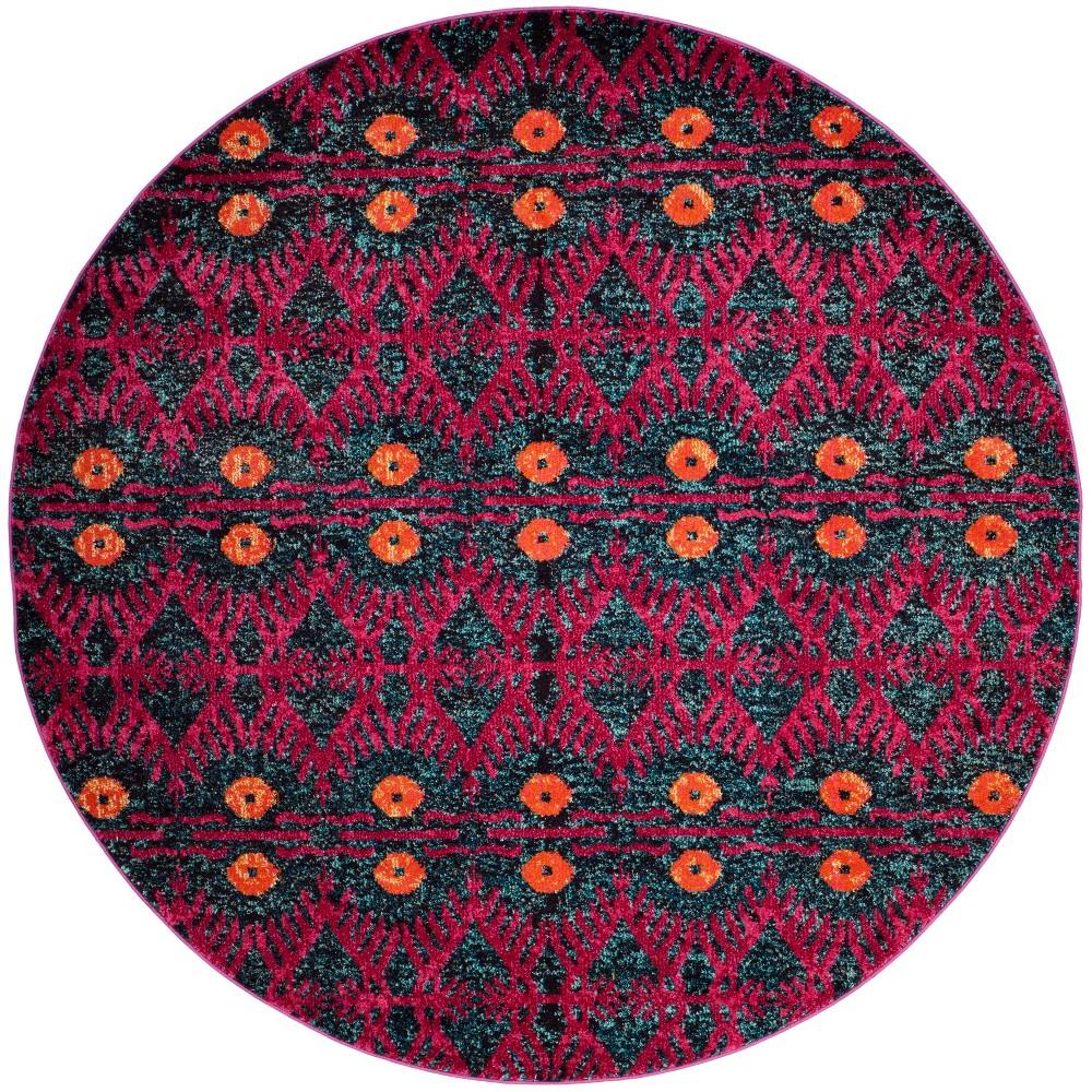 6'7 Tribal Design Round Area Rug Pink - Safavieh