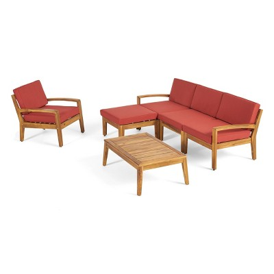 Grenada 6pc Acacia Wood Sofa Set - Teak/Red - Christopher Knight Home