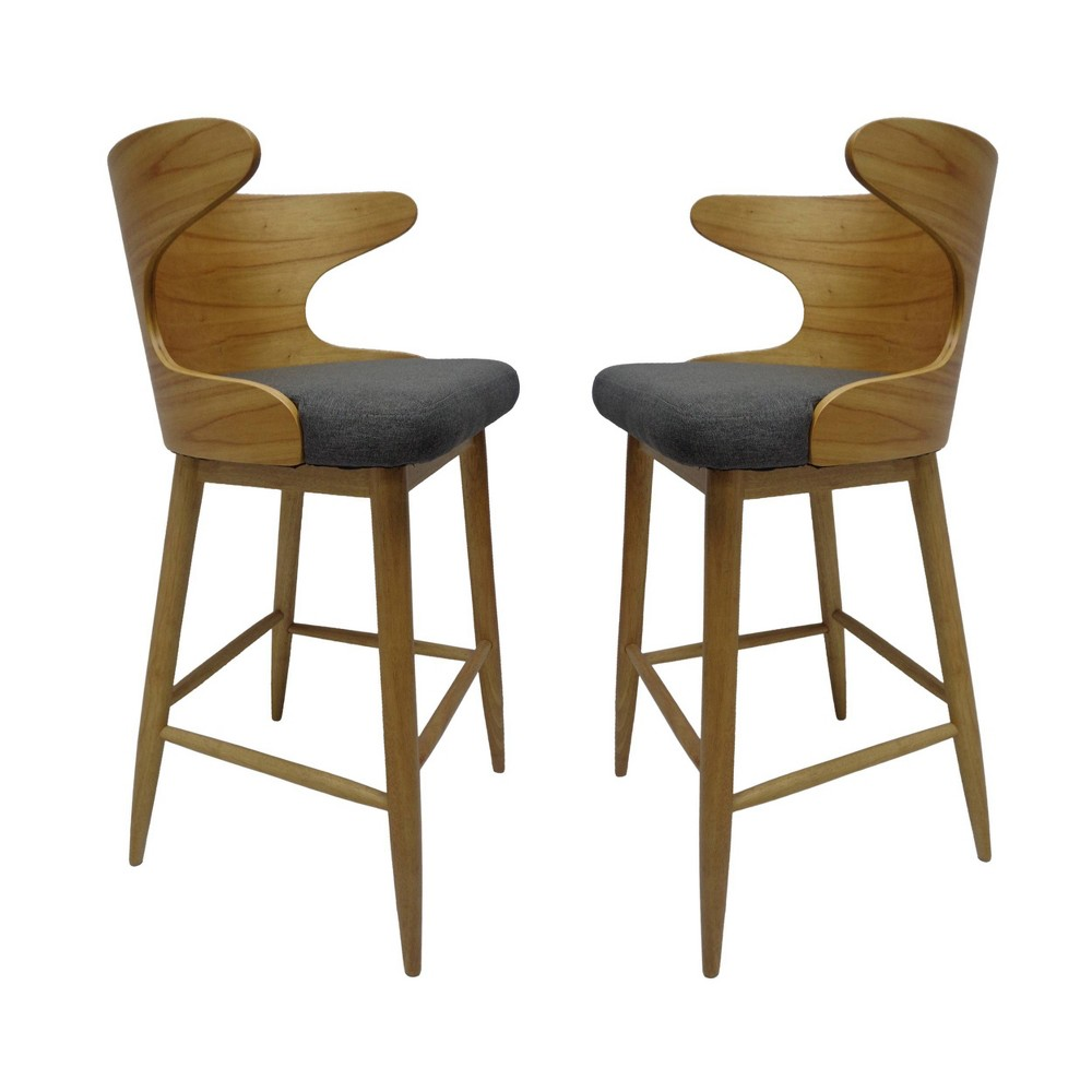 Kamryn Set of 2 Mid Century Modern Barstool Charcoal (Grey) - Christopher Knight Home