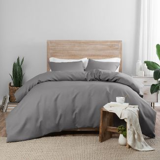 3pc King Nora Duvet Cover Set Gray - Vue Elements