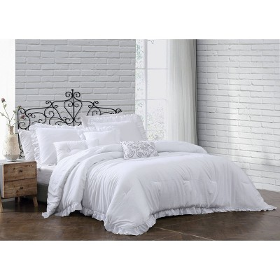 Davina Enzyme Washed Ruffle 6pc Comforter Set - Geneva Home Fashion