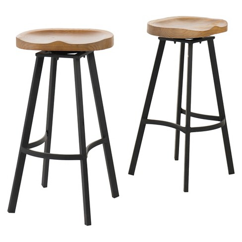 Albia Swivel 31 5 Barstool Natural Black Set Of 2 Christopher Knight Home