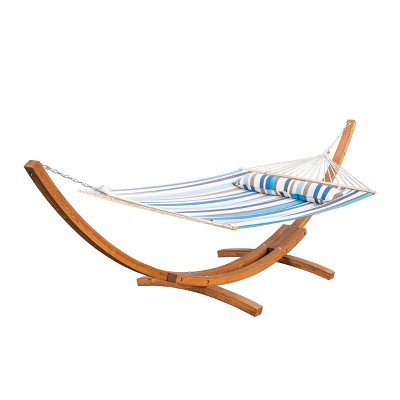 Richardson Outdoor Hammock With Base – Blue/Brown/White - Christopher Knight Home