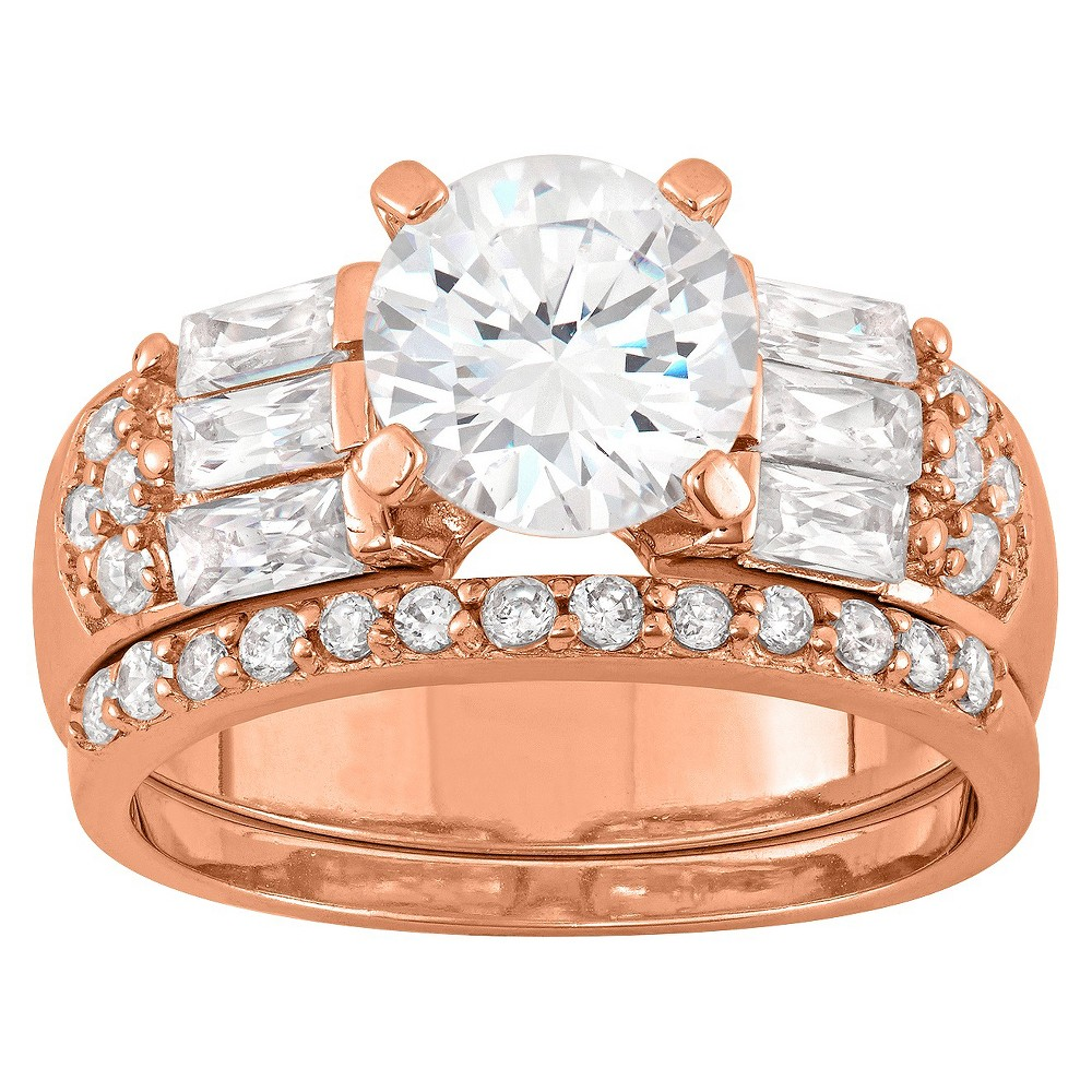 3.22 CT. T.W. Elegant 8mm Round-Cut Cubic Zirconia with Baguette Side Stones 3-Piece Bridal Set In 14K Gold Over Silver - (7), Girl's, Rose