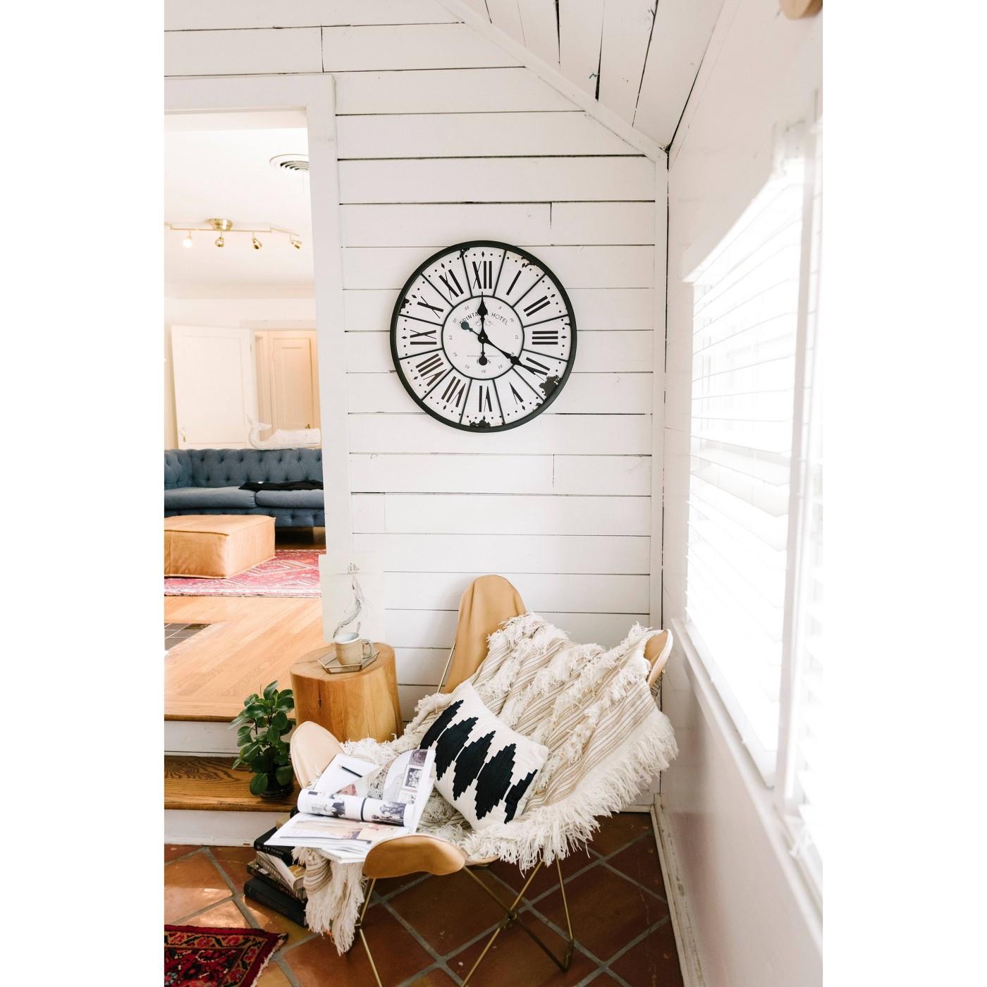 "24"" Round Metal & Wood Clock Black/White - 3R Studios - image 6 of 9"