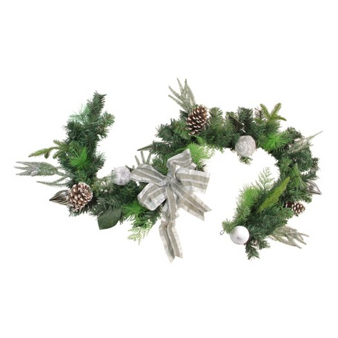 Northlight 6 X 11 Unlit White Silver Bow And Pine Cone Artificial Christmas Garland