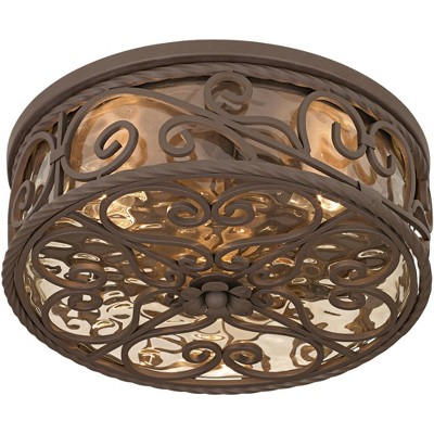 """John Timberland Rustic Farmhouse Outdoor Ceiling Light Fixture Dark Walnut 15"""" Champagne Water Glass Exterior House Porch Patio"""