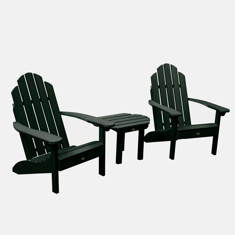 Image of 3pc Classic Westport Adirondack Chair Patio Set Charleston Green - highwood