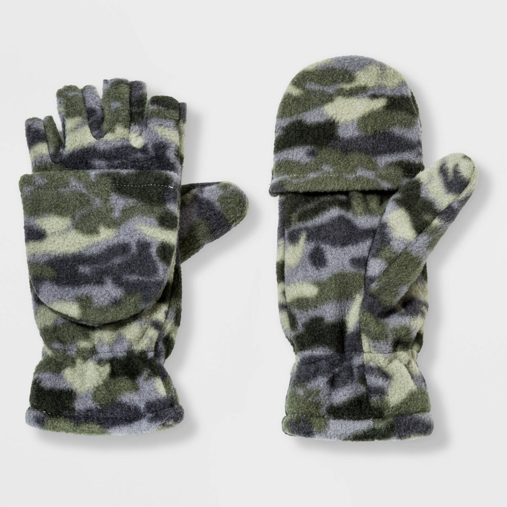 Boys' Convertible Fleece Glove - Cat & Jack Green Camo 4-7, Boy's thumbnail