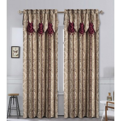 Kate Aurora Red, Burgundy & Taupe Complete Window in a Bag Damask Window Curtain Set - 56 in. W x 84 in. L, Burgundy