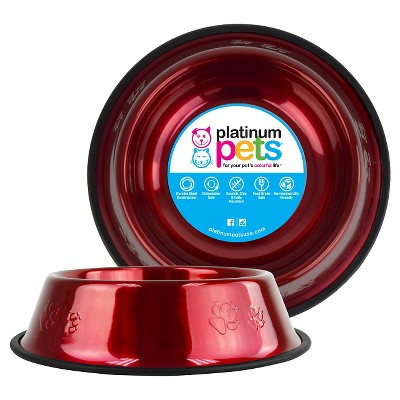 Platinum Pets Embossed Non-Tip Cat/Dog Bowl - Candy Apple Red - 3.5 Cup